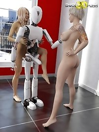 Horny babes enjoying machine sex
